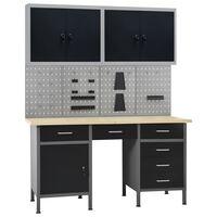 vidaXL Établi avec 4 panneaux muraux et 2 armoires