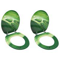 vidaXL Sièges de toilette avec couvercle 2 pcs MDF Vert Gouttes d'eau