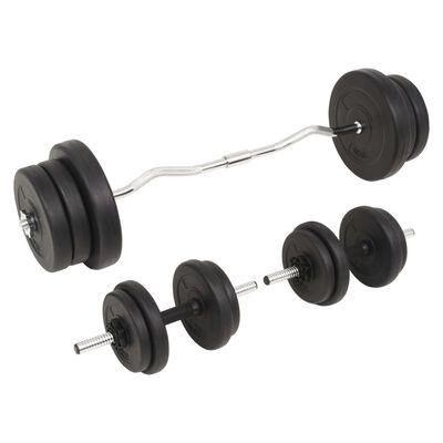 vidaXL Ensemble d'haltères et barres d'haltères 60 kg