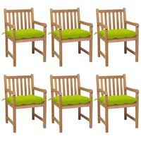 vidaXL Chaises de jardin 6 pcs avec coussins vert vif Teck solide