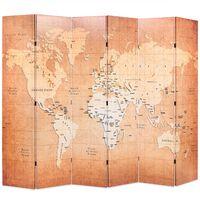 vidaXL Cloison de séparation pliable 228 x 170 cm Carte du monde Jaune