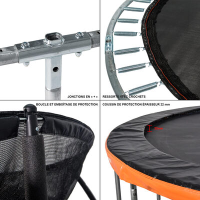 GREADEN Trampoline de jardin 250/8FT Échelle/kit d'ancrage