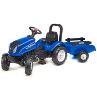 FALK Tracteur à pédales à chevaucher New Holland avec remorque Bleu
