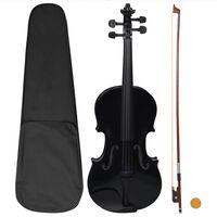 vidaXL Ensemble de violon avec archet et mentonnière Noir 4/4