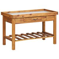 vidaXL Table de jardin avec dessus en zinc Bois solide d'acacia