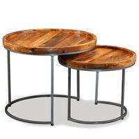 vidaXL Ensemble de tables d'appoint 2 pcs Bois de manguier massif