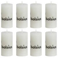 Bolsius Bougies pilier rustiques 8 pcs 100x50 mm Blanc