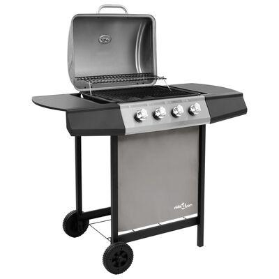 vidaXL Barbecue gril à gaz avec 4 brûleurs Noir et argenté