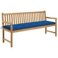vidaXL Banc de jardin avec coussin bleu 175 cm Bois de teck massif