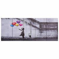 vidaXL Jeu de tableau sur toile Enfant et ballons Multicolore 150x60cm