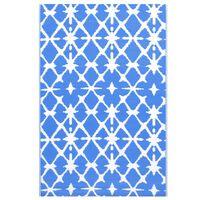 vidaXL Tapis d'extérieur Bleu et blanc 190x290 cm PP