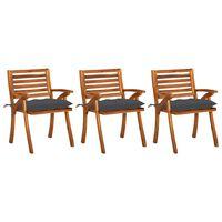 vidaXL Chaises à dîner de jardin avec coussins 3 pcs Acacia massif