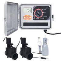 vidaXL Programmateur d'arrosage avec capteur de pluie et électrovanne