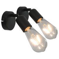 vidaXL Projecteur 2 pcs avec ampoules à filament 2W Noir E27