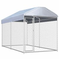 vidaXL Chenil d'extérieur avec toit pour chiens 382x192x225 cm