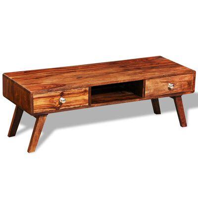 vidaXL Buffet de TV 2 tiroirs vintage 40 cm Bois massif de sesham