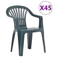 vidaXL Chaises empilables de jardin 45 pcs Plastique Vert
